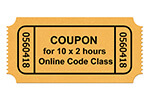 Coupon for 10x2h online code class session