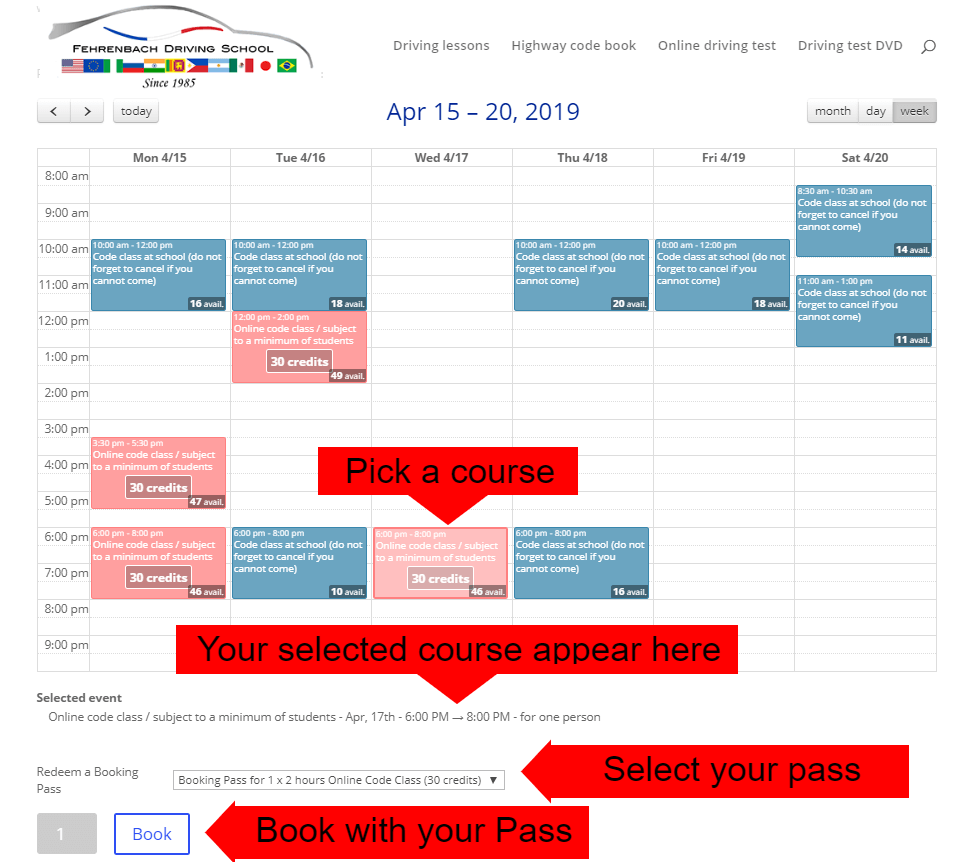 How to pick a course on the calendar ?