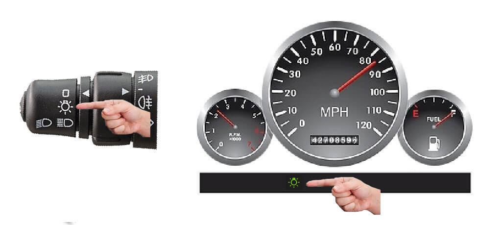 Dashboard parking lights indicator
